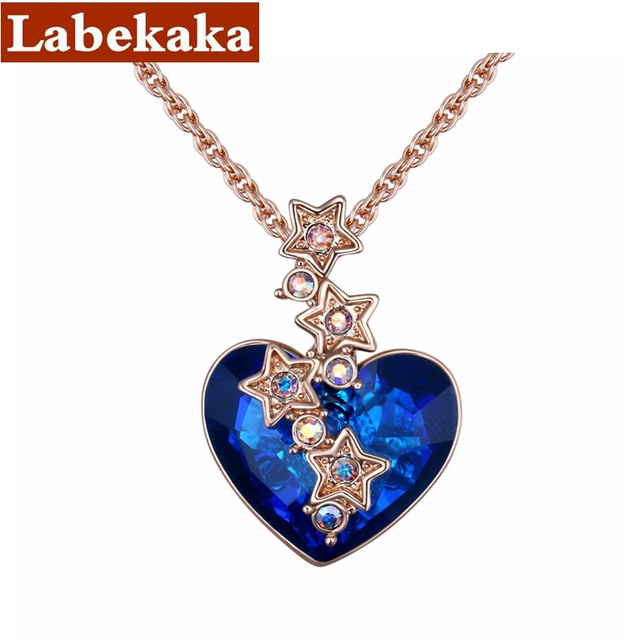 Classic Crystals from Swarovski Elements Hearts Pendant Necklace With Star Rain for Women Wedding Jewelry Drop Shipping