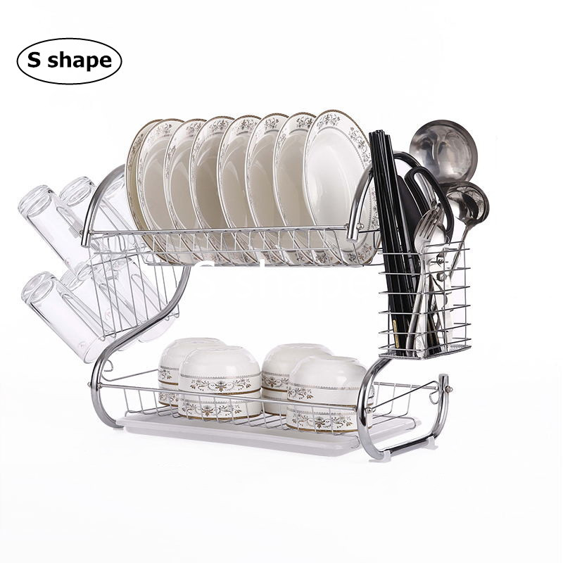 2-3 Tiers Kitchen Washing Holder Dish Drying Rack Basket Plated Iron Kitchen Knife Sink Dish Drainer Drying Rack Organizer bangle