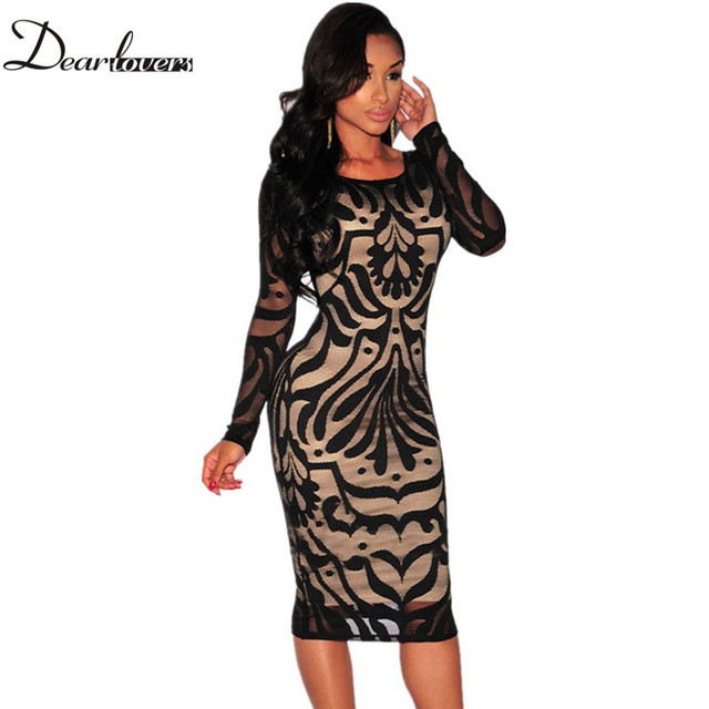 Dear lover Black White Net Nude Illusion Long Sleeves Midi Dress Sexy women pencil dresses roupa feminina 2017 Plus size LC60469