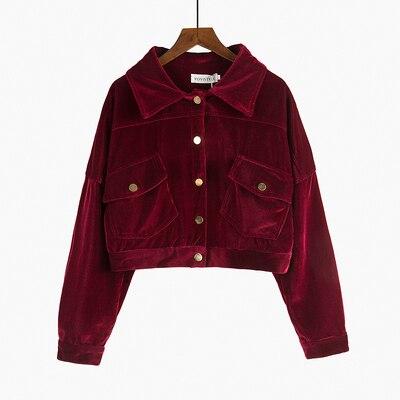 Burgundy corduroy   jacket   short women's loose   jacket   High street Vintage   Basic     Jackets   Chaqueta Mujer Casaco Jaqueta Feminina QT1