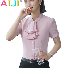 6b874d749ca05 Slim bow tie women chiffon shirt short sleeve elegant ruffle stand collar  ladies formal blouse office