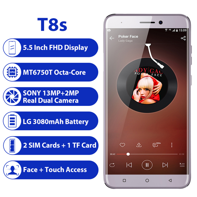 LEAGOO T8s 4GB pamięci RAM 32GB ROM telefon komórkowy Android 8.1 5.5 ''1920*1080 MTK6750T octa core face id 13MP podwójny aparat 4G Smartphone