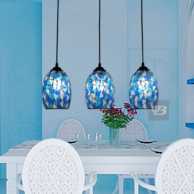 Fashion Multithread Bohemia Mosaic Stained Glass Pendant Light Dining Room Bedroom Hanglamp E27 110 240V