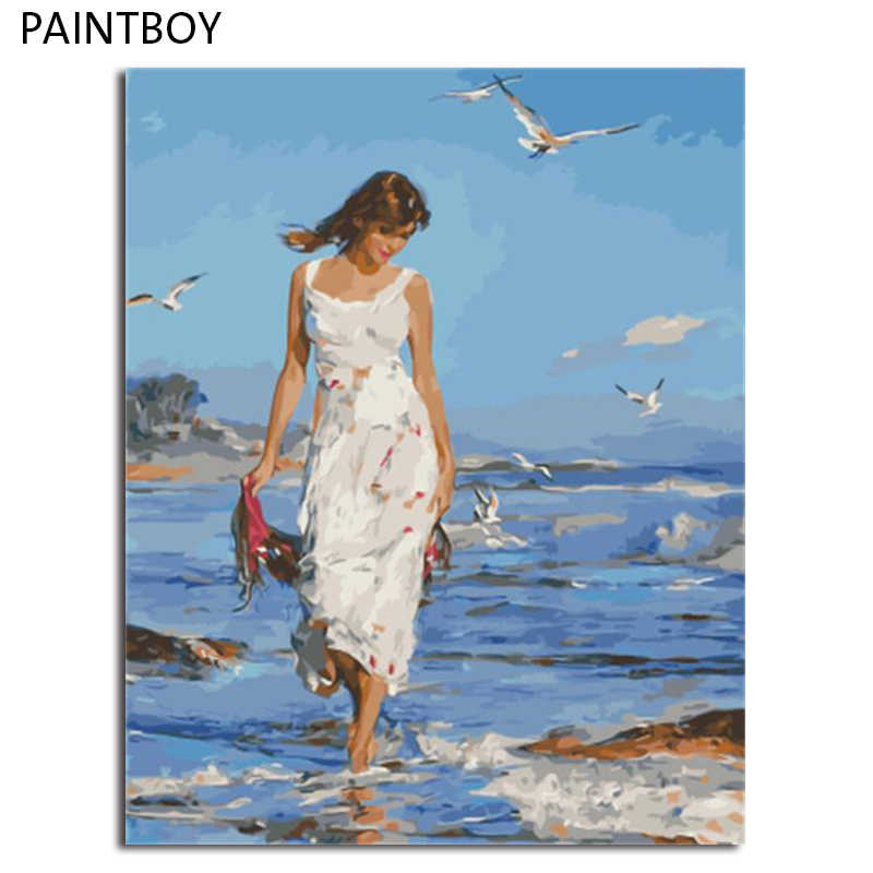 PAINTBOY Framed Pictures DIY Painting By Numbers of Figure Painting Hand Painted Oil On Canvas Home Decor For Living Room