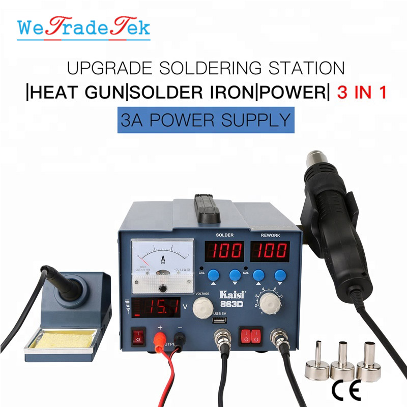 K-863D 3 In 1 Hot Air Gun Soldering Station SMD Rework Station With 3A DC Power Supply For Phone PCB Welding Repair Machine