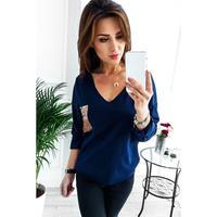 Donne Paillettes Maglietta Calda Donna Lady Manica Lunga Con Scollo A V Casual Shirt Top New Fashion T-Shirt Streetwear WS4674O