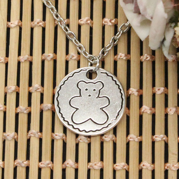 New Fashion Circle Bear Pendants Round Cross Chain Short Long Mens Womens DIY Silver Color Necklace Jewelry Gift