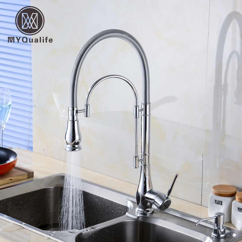 цена на Polished Chrome Deck Mount Chrome Kitchen Sink Faucet Spring Bar Kitchen Mixer Taps Single Lever