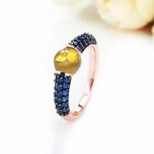 Image 5 - Zwart En Rose Goud Met Blauwe Zirkoon Kristallen Fashion Ring Gift 15 Kleuren