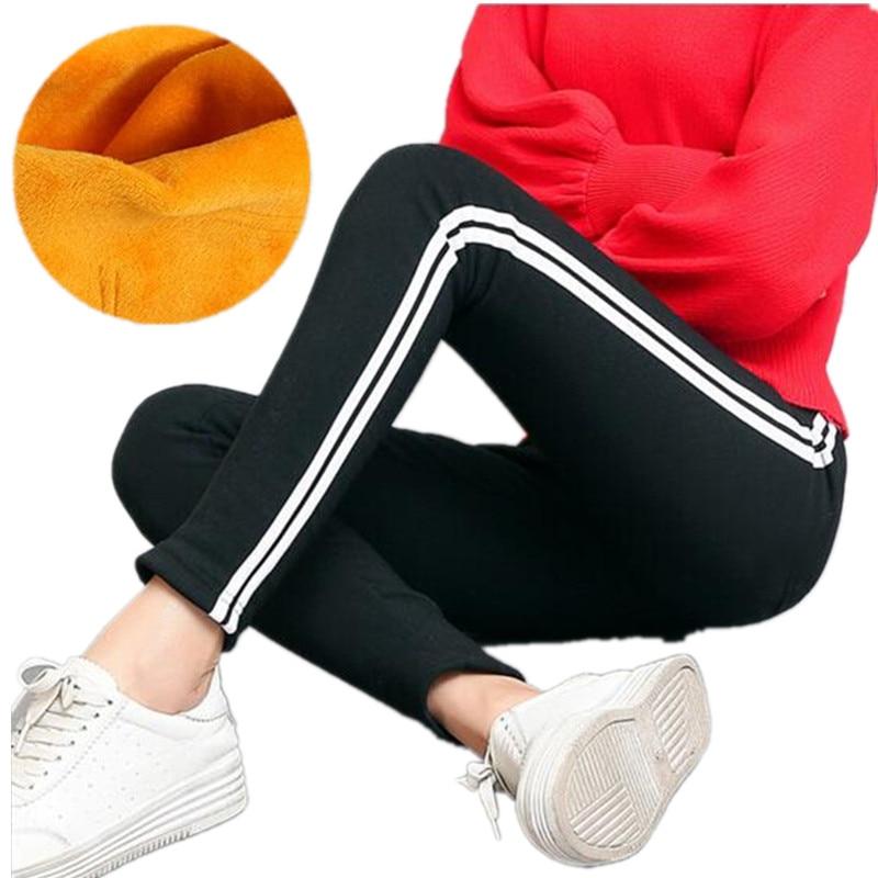 WKOUD Women's Winter Warm Leggings Black Side Striped Pencil Pants High Elastic Waist Thick Gold Fleeces Stretch Trousers P8411