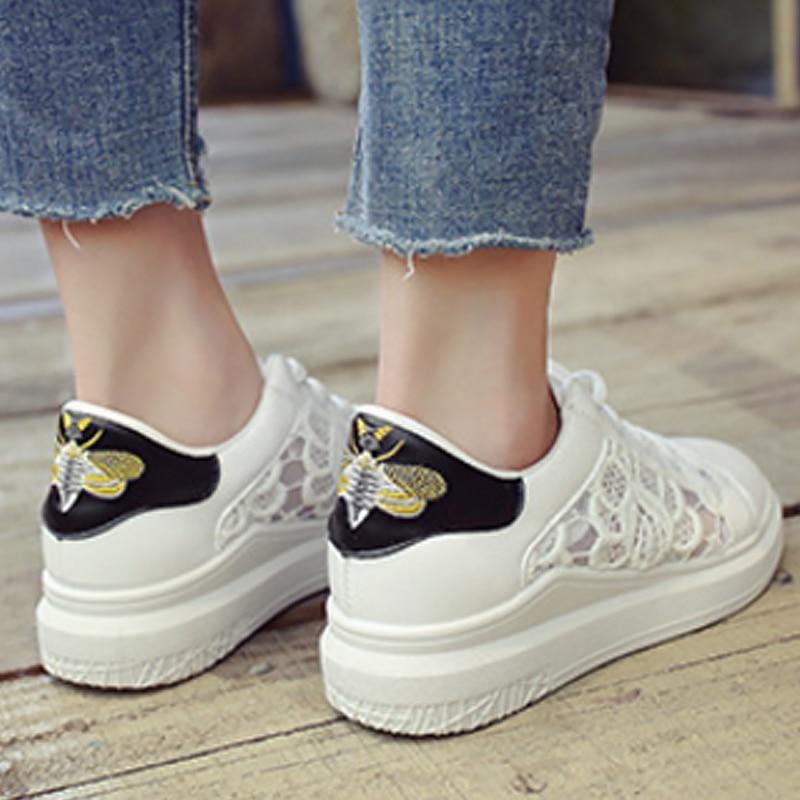 white Chaussures Vulcaniser Femmes Mode Sneakers D'été Hauteur Zapatos Croissante Fleur Black Designer Mesh Mujer Respirant Wedge 5rZTrxw