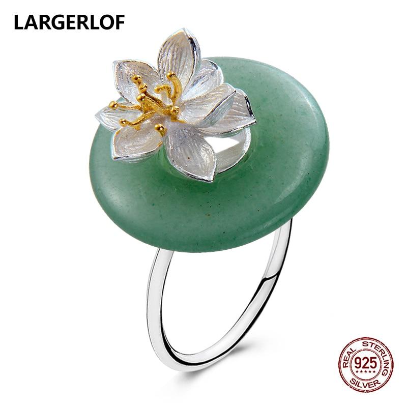 LARGERLOF Silver 925 Ring Women Jade Ring Silver Fine Jewelry Women 925 silver Jewelry 925 Silver Ring For Women RG70004 кольцо oem r111 925 925 amwajeda dymampta ring