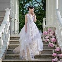 Lãng mạn Mềm Tulle Bridal Váy Tùy Chỉnh Kịch Bóng Gown Maxi Dài Váy cho Đám Cưới Thời Trang Bridal Tách Ảnh Prop