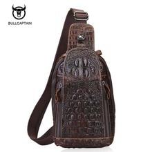 Bullcaptain Genuine Leather Men Bags Men's Crossbody Bag Men Messenger Bags Zipper Leather Phone Chest Pack Waist Small Belt Bag