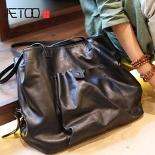 AETOO First layer cowhide bag large capacity genuine leather portable tote Men and women tide soft TOTE handbag
