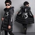 Marca Com Capuz Moda 5 Cartas Impressa Algodão Acolchoado jaqueta Snowsuit Grande Colarinho De Lã Preto Casaco de Inverno Quente 5-16 anos