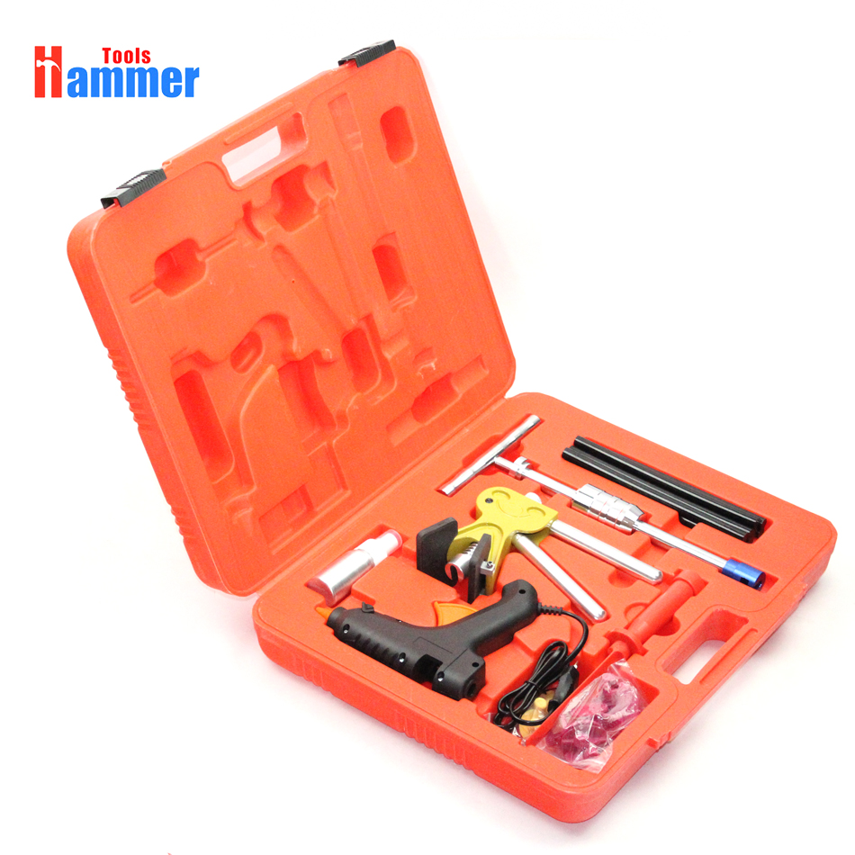 купить Paintless Dent Repair Removal PDR Tools Auto Body Kit dent puller slide hammer Glue Gun Set по цене 6068.78 рублей