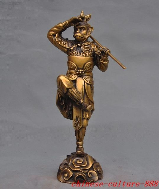 christmas chinese brass myth journey to the west monkey king sun wukong buddha statue halloween - Halloween Statues