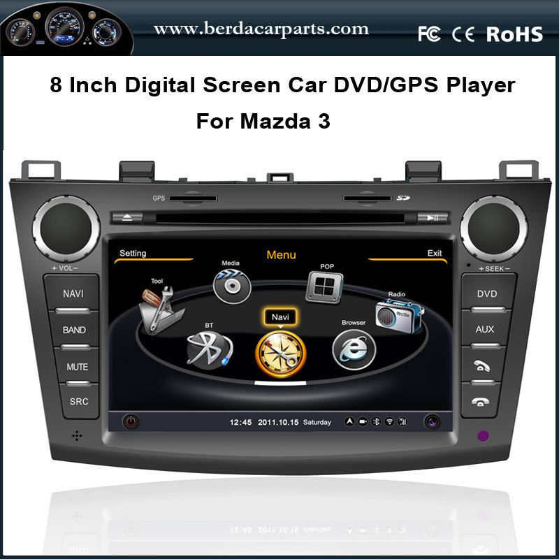 Car DVD Video Player For <font><b>Mazda</b></font> <font><b>3</b></font> 2010-2011 With <font><b>GPS</b></font> Navigation Radio Bluetooth USB/SD Free <font><b>map</b></font> image