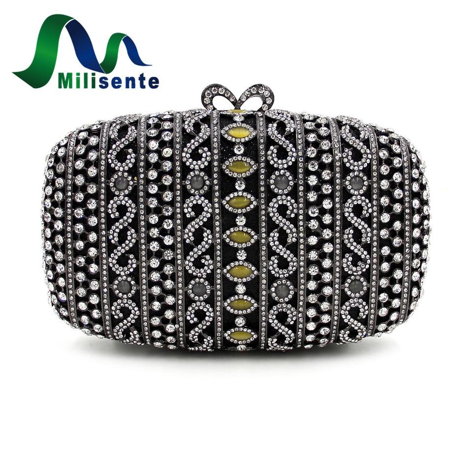 ФОТО Milisent Noble Black Crystal Evening Bags Women Party Bag Luxury Diamond Handbag Small Clutches With Chain Lady Wedding Purse