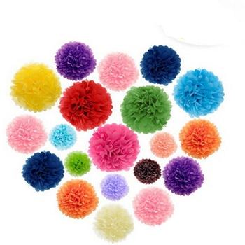 "160pcs 4"" 6"" 8"" 10''(10/15/20/25cm) Tissue Paper Pom Poms Mix Color Flower Balls Wedding Pom Poms Wedding supplies Decoration"