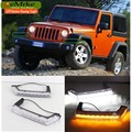 eeMrke Car LED DRL For Jeep Wrangler JK TJL J8 Xenon White DRL Yellow Turn Signal Fog Cover Daytime Running Lights Kits