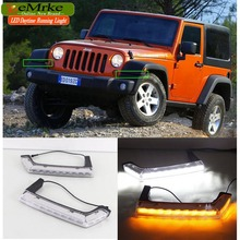 eeMrke Car LED DRL For Jeep Wrangler JK TJL J8 Xenon White DRL Yellow Turn Signal Fog Cover Daytime Running Lights Kits