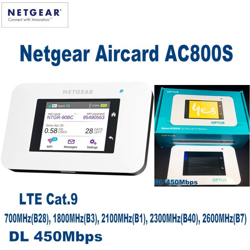 UNLOCKED Netgear Aircard AC800S 4G LTE Cat.9 Mobile Hotspot WiFi Router Modem netgear ac791l verizon wireless 4g lte mobile hotspot