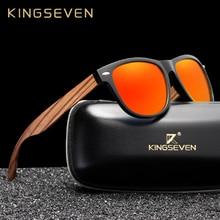 все цены на KINGSEVEN Fashion Wooden Polarized Square Sunglasses Men Women Mirror Lens UV400 Protection Driving Sun Glasses Eyewear онлайн