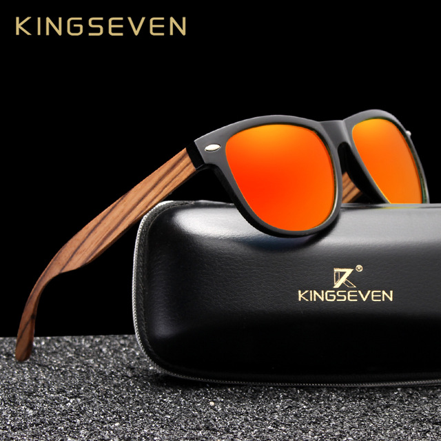 KINGSEVEN Fashion Wooden Polarized Square Sunglasses Men Women Mirror Lens UV400 Protection Driving Sun Glasses Eyewear