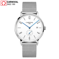 Carnival Ultra thin 8MM Automatic Watch Men Simple Mechanical Watches Diver Waterproof Wrist Watch Mens Clock relogio masculino