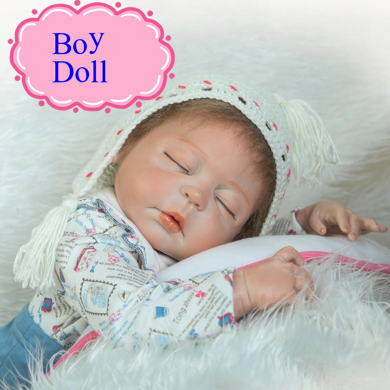 Retail Good Price All Silicone Reborn Baby Doll Made By Safe Silicone About 57cm 22inch Sleeping Boy Doll Hot Sell Brinquedos full set top quality 60 cm pvc doll 1 3 girl bjd wig clothes shoes all included night lolita reborn baby doll wedding price shas