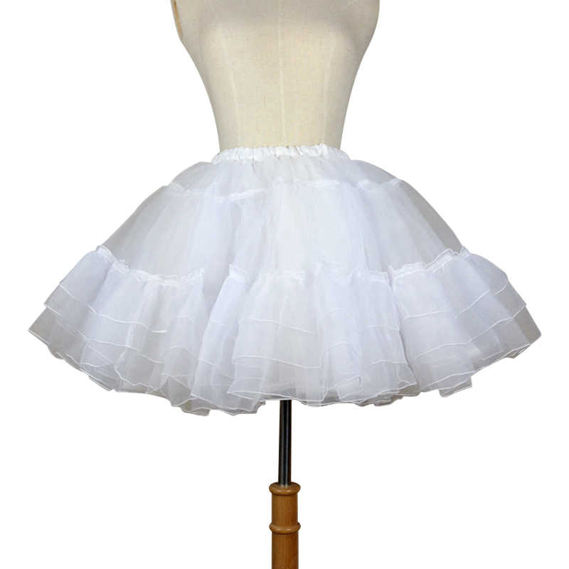 Organza Breve Petticoat Lolita Bianco/Nero Layered Tutu Gonna per le Donne