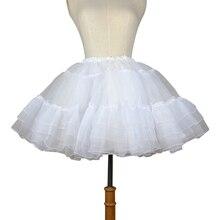 Organza Breve Petticoat Lolita Bianco/Nero Layered Tutu Gonna per le Donne