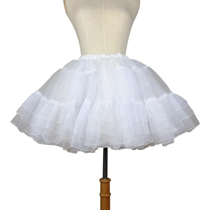 Organza Short Petticoat Lolita Vit / Svart Layered Tutu Kjol för Kvinnor