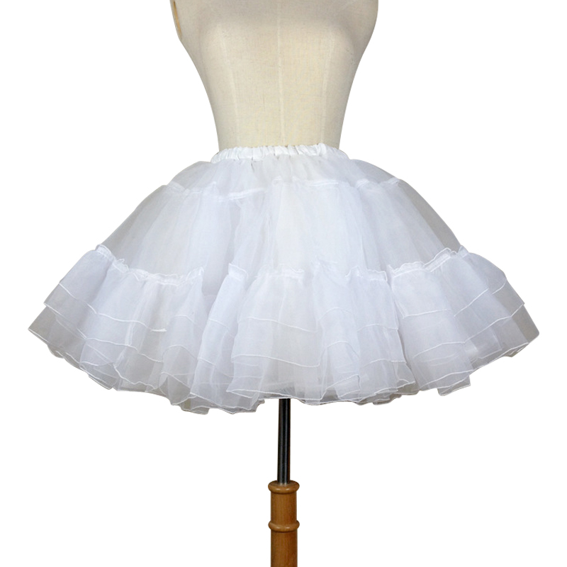 Organza Short Petticoat Lolita White/Black Layered Tutu Skirt For Women