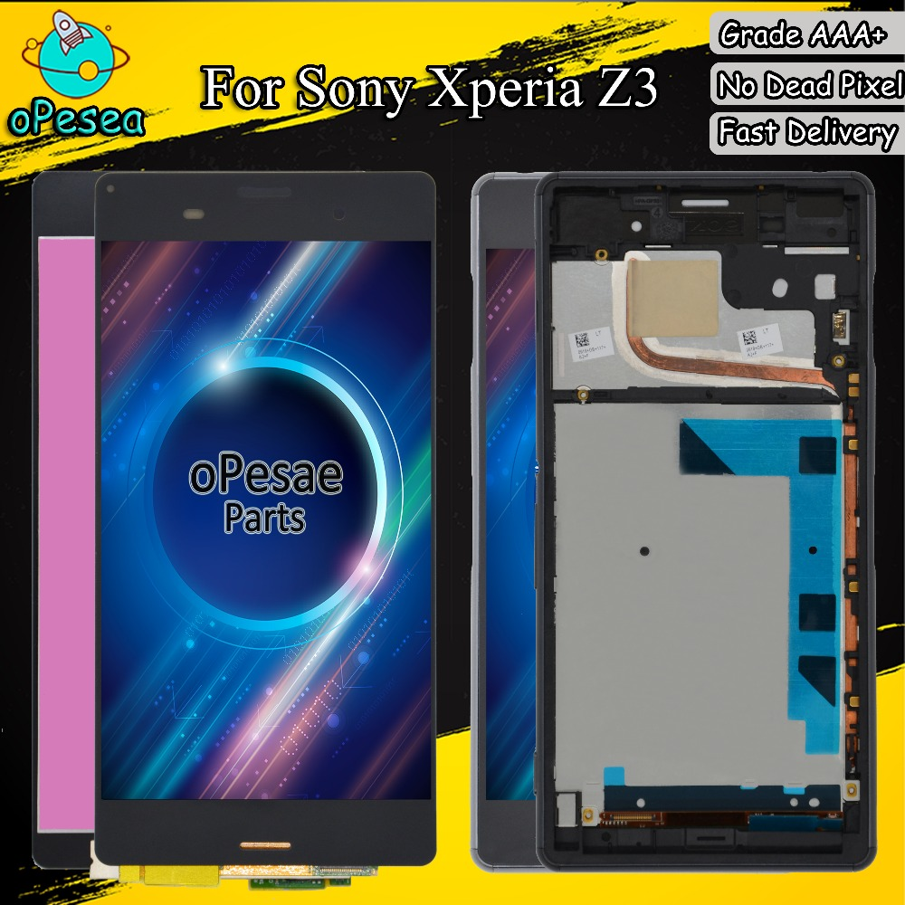 oPesea For SONY Xperia Z3 Dual L55T D6633 D6603 D6653 LCD Display Panel Touch Screen Digitizer Glass Sensor Assembly With Frame