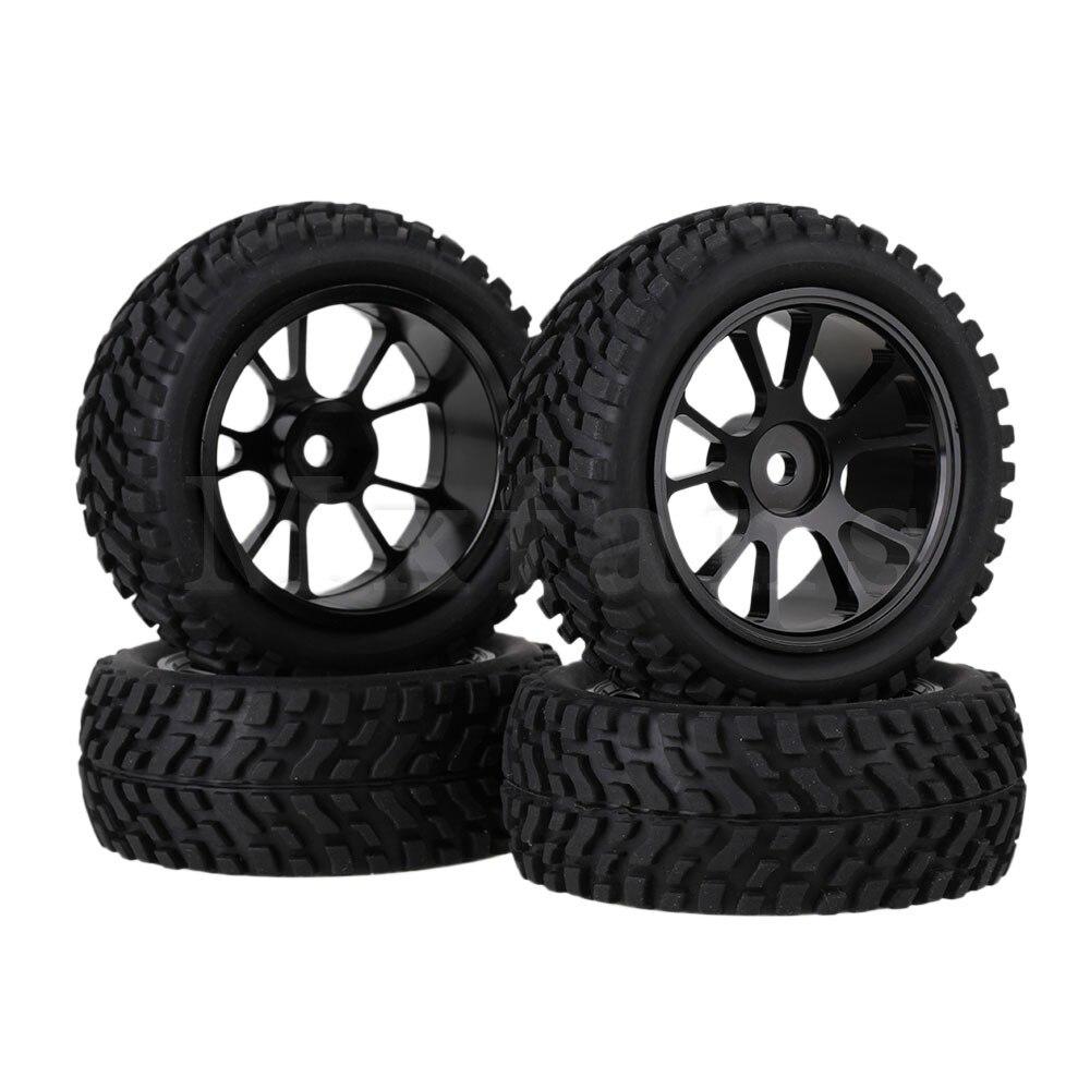Mxfans 4 x RC1:10 On Road Car Alloy 10-Spoke Wheel Rim &Beard pattern Rubber Tyre aluminum 6 spoke wheel rim for 1 10 rc on road racing car