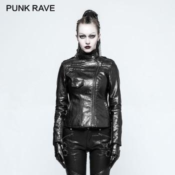 PUNK RAVE PUNK Rock Fitted Shining PU Short Woman Jackets Autumn Winter Faux Leather Ladies Coat Motorcycle Zipper Black Jacket