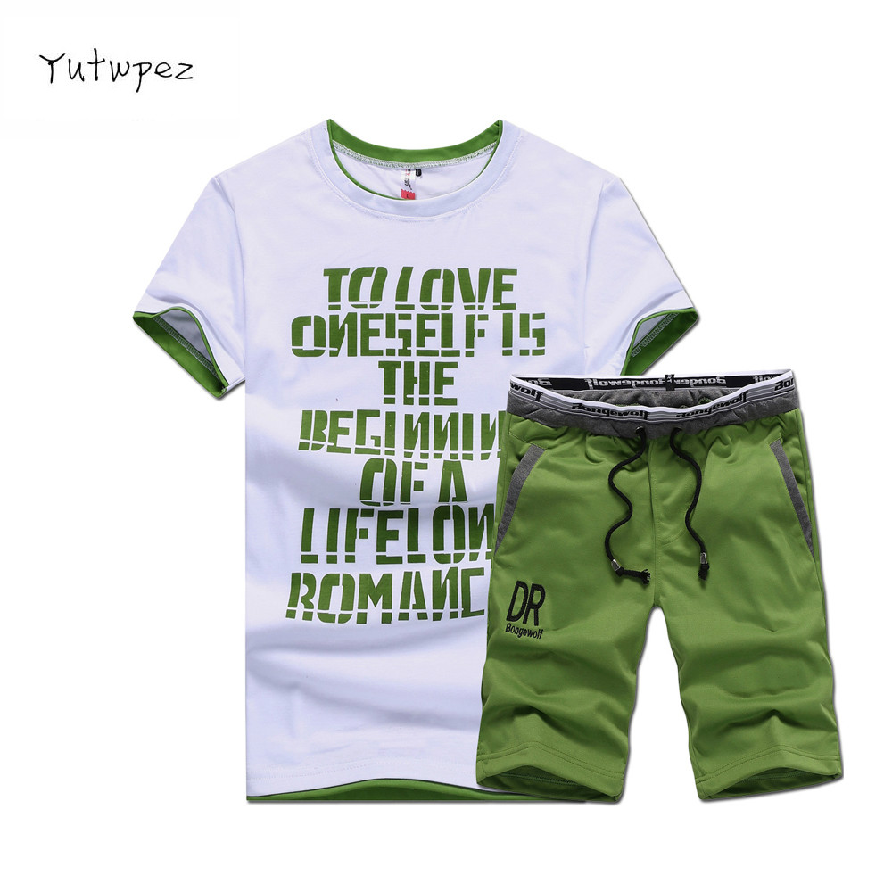 Summer Men Set Fitness Suit Sporting Suits Short Sleeve T Shirt + Shorts Quick Drying 2 Piece Set Casual Male Tracksuit Clothing