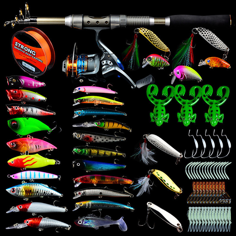 Pureleisure Fishing-Rod-Combo Soft-Bait Spinning Spoon Pe-Line Popper/wobbler