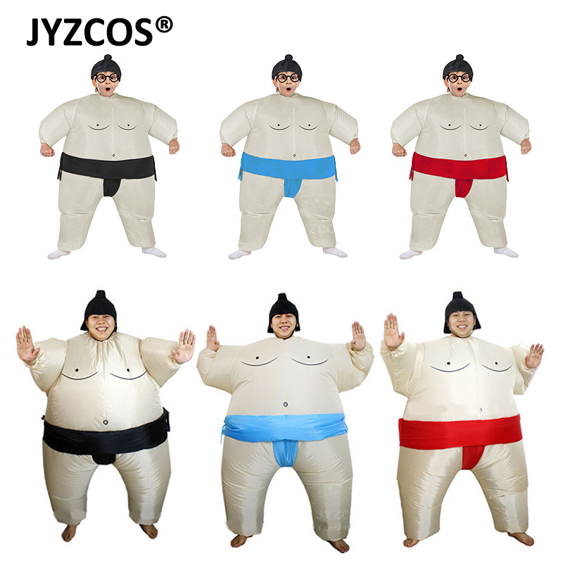 JYZCOS Purim Felfújható Sumo jelmezruha Birkózó Halloween jelmez fiúknak Lány férfiak Nők Felnőttek Gyerekek Fat Man Airblown Sumo