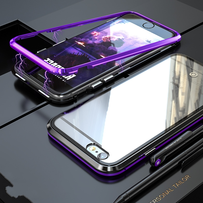 BOBYT Luxury Metal <font><b>Bumper</b></font>+Toughened Glass Back Cover For <font><b>iPhone6</b></font> 7 8 Magnetic Frame Shockproof Phone <font><b>Case</b></font> For iPhone 6Plus Coque image