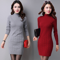 2017 New Arrival Autumn Winter Dress Women 5 Colors Knitting Warm Sheath Casual Vestidos Female