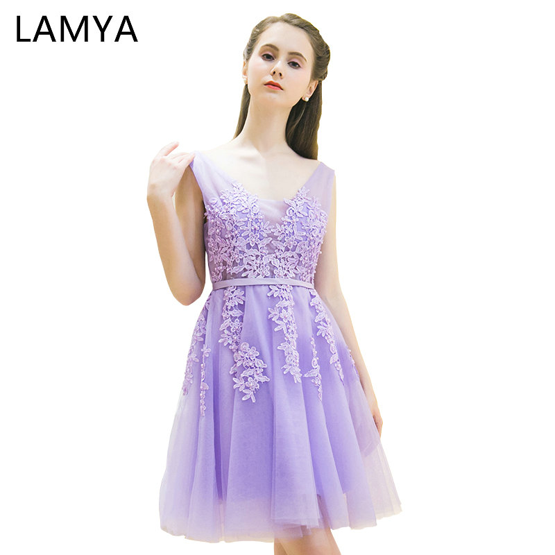 LAMYA Sexy Lace V Neck A Line   Cocktail     Dresses   2019 Elegant Off The Shoulder Prom Party   Dress   Women Knee Length Special Occasion