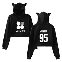 Hoodies Kawaii Long Sleeve Cropped Women Jimin Cat Hoodie Harajuku Korean Style Casual Pullovers Sweatshirts(China)