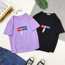 2019 Harajuku Summer T-Shirts Women Casual Loose Letter Printed Tee Tops Casual Female Short Sleeve T-shirts недорого