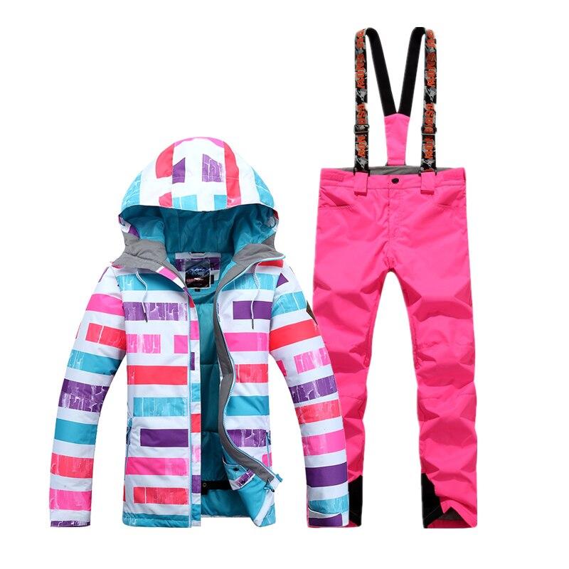 Prix pour Gsou SNOW Femmes de Étanche Snowboard ski costume Un Ensemble veste de ski + pantalon de ski de neige vêtements sports de Plein Air Coupe-Vent chaud vêtements