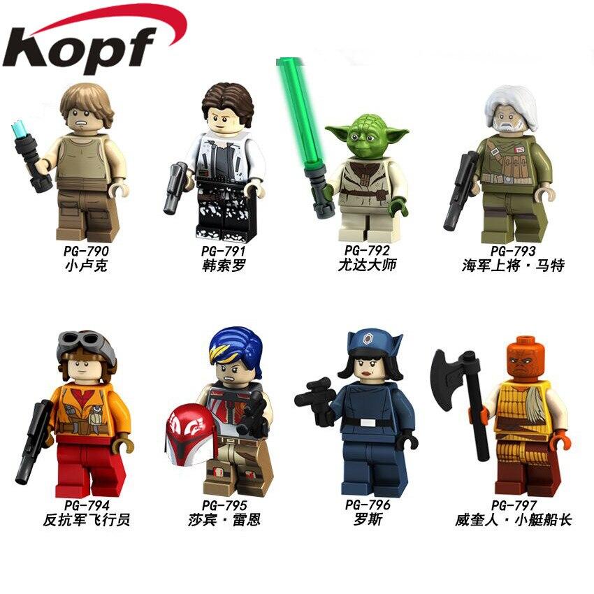 20Pcs Building Blocks Space Wars Han Solo Luke Skywalker Rebel Pilots Yoda Sabine Wren Figures For Children Learning Toys PG8115