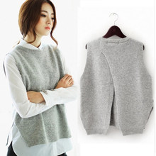 Зимой и осенью Женщины жилет куртка свитер для женщин Свободный жилет пуловер с круглым вырезом больших размеров шерстяной жилет женский хеджирования
